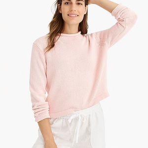 jcrew cropped pink sweater